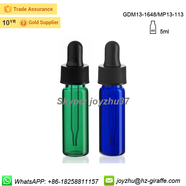 Hot sale spray painted 5ml glass tube dropper vial with plastic cap