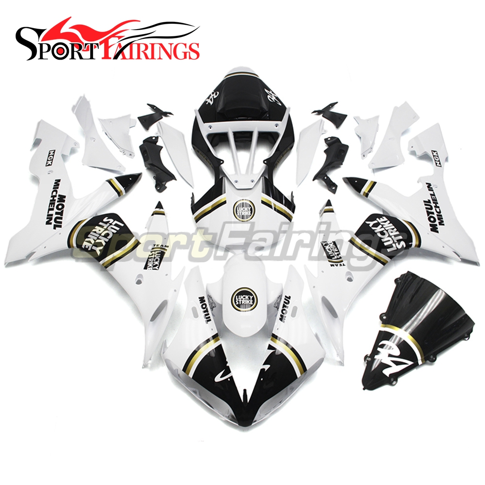 Full Fairings For Yamaha YZF <strong>R1</strong> 04 05 06 ABS Plastic Injection Motorcycle Fairing Kit Body Kits Lucky Strike 34 White Black