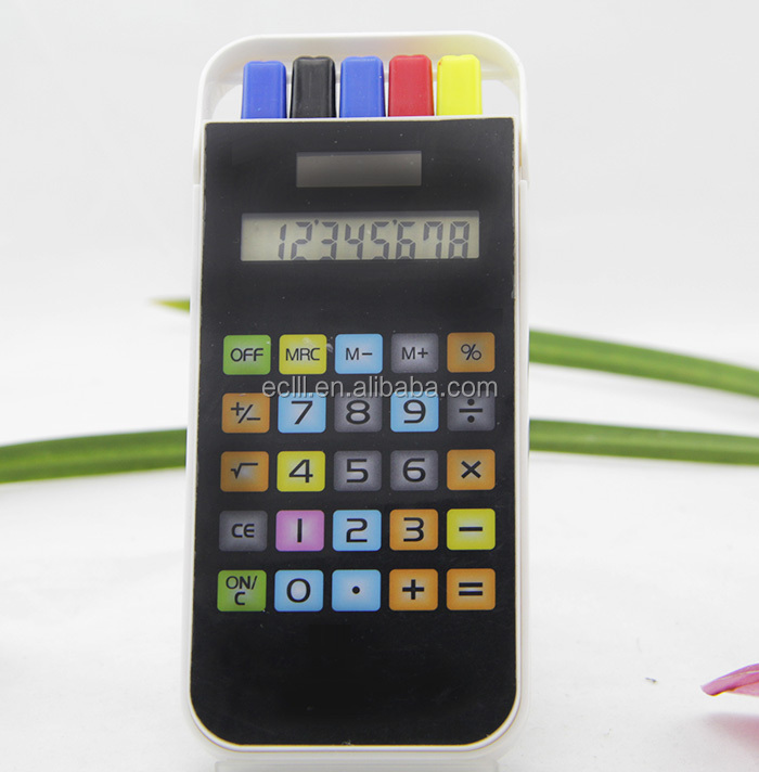 8 digit cellphone shape calculator with pen set