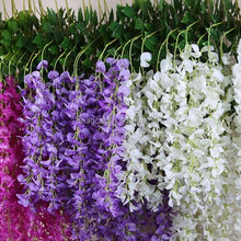 Wedding flower white wisteria with three stems silk artificial flower wall
