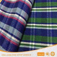 Good quality thickness 100% cotton plaid yarn dyed fabric for shoes