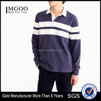 MGOO Hot Selling Men Striped Polo Shirt Loose Fit Long Sleeve Rugby Polo Shirts