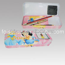 double layered metal tin pencil case