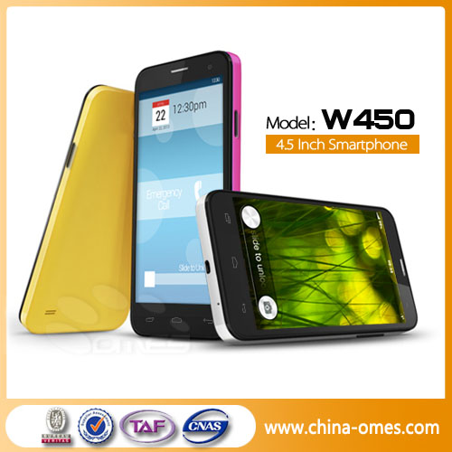 High Quality Quad Core MTK6589 3G Phone W450 Free Download Android 4.0 flash player for Android OS