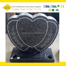 Blue pear granite tombs heart shapes