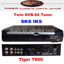 IKS sks cccam hd receiver twin tuner hd receiver tiger t800 tv receiver decoder