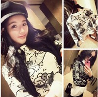 2013 KOREA FLOWER PRINT FASHION WOMENS SHORT PULLOVER KNIT SWEATERS