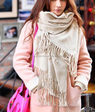 Ladies custom knitted plain polycotton cream with tassels fashion scarf
