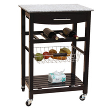 Expresso Wooden Kitchen Trolley with Marble Top
