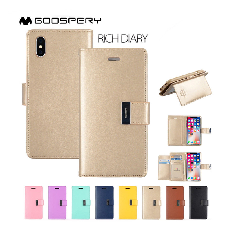Retail buying for iPhone Xs Max case, mercury goospery rich diary wallet case for iPhone Xs Max leather card holder