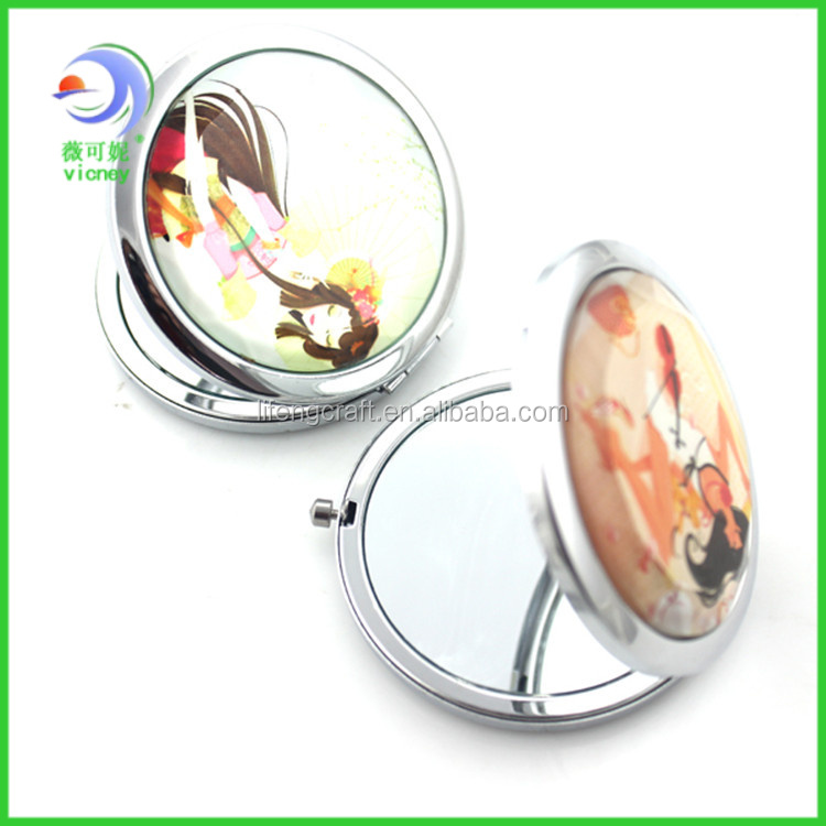 Wholesale Custom Round Metal Pocket Personalized Compact Mirror