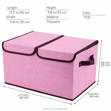 Fabric Collapsible Storage Cubes Bin Box , Organizer Basket with Lid and Handles , Removable Divider For Home Storage