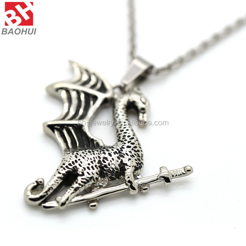 New Update Antique Stainless Steel Carved Fying Dragon Charms Pendants