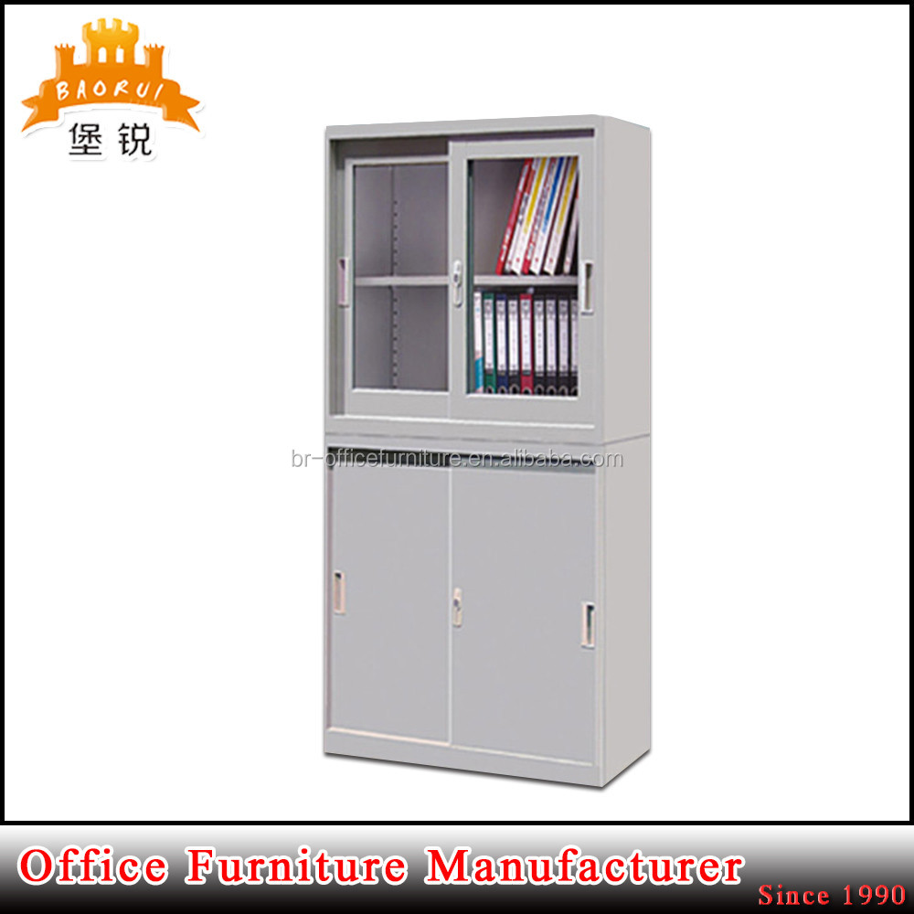 Factory price used school&office kd metal furniture sliding glass door filing cabinet with good quality