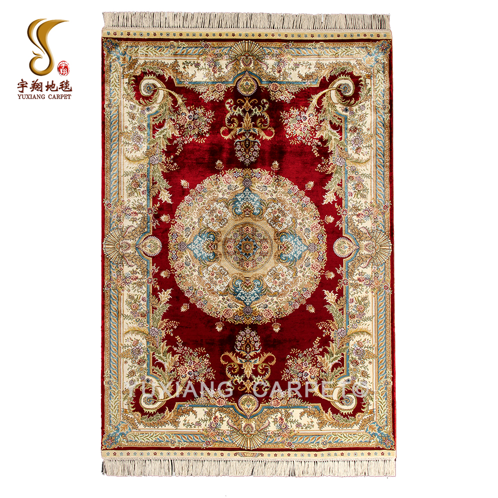 High Quality Stock 4*6ft Hand Knotted Luxury Red Persian Silk Carpet for Collection and Home Decoration