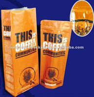 Aluminum foil side-gusset stand up bag with degassing valve for coffee