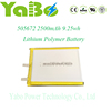 505672 2500mAh lithium polymer battery 3.7v for power bank tablets