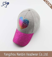 Hot sale cotton 5 panel baseball cap hat with colorful gold foil printing and glitter fabric by visor