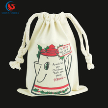 OEM standard customized size christmas cotton canvas drawstring tote santa sack gift bag