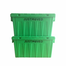 Convenience store plastic logistic tote turnover box with hinged lid