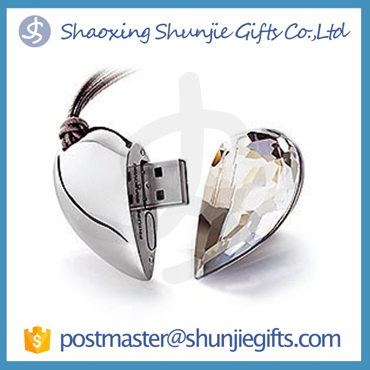 custom heart shape jewelry usb flash drive crystal usb stick wholesale usb flash drive