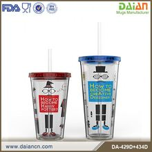 BPA Free clear plastic double wall mug with straw