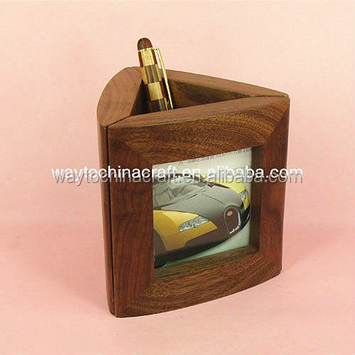 Natural Wooden Photo Frame With Pen Holder
