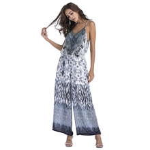 Wholesale Sexy Loose Spaghetti Strap Printed Women V Neck Backless Ladies Chiffon Jumpsuit