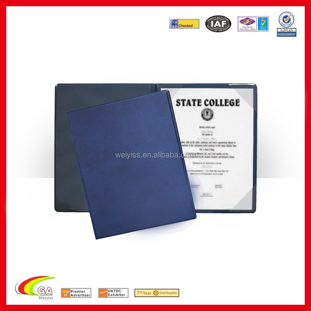 factory direct leather diploma graduation degree holder certificate cover