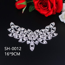 Sew-on Bags Wings Rhinestone Applique Crystal Silver Base Use For Wedding Dress
