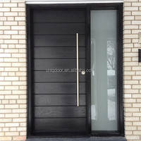 Modern front door solid wood pivot entry door with frosted glass side lite