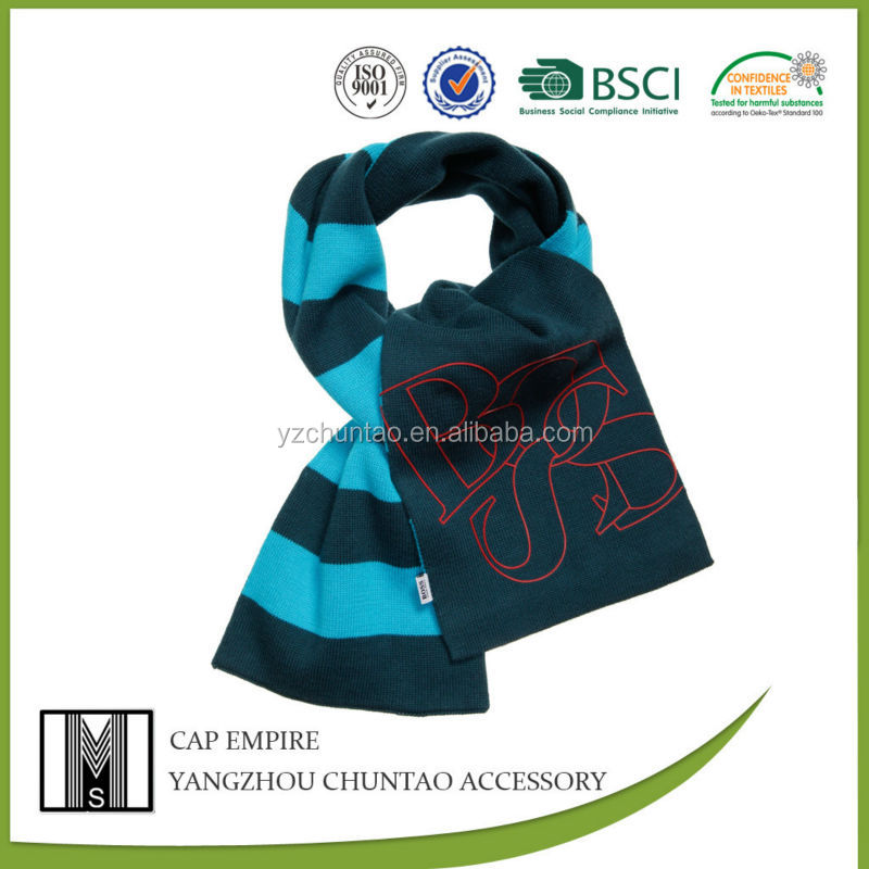 BSCI Audit winter Boys Blue Striped Knitted Scarf