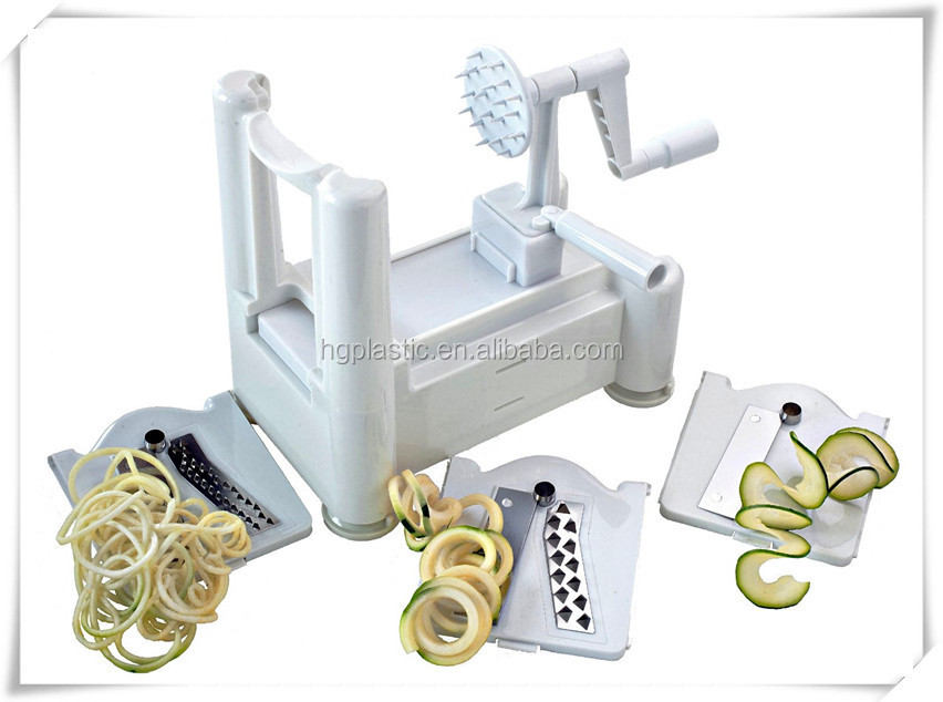 SMALL SIZE tri-baldes plastic vegetable and fruite spiralizer , parderno spiral slicer with three blades. turning slicer