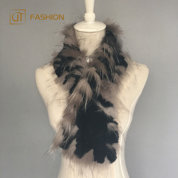 Nice price jtfur wholesale hand knitting collar fox and rex rabbit fur women scarf