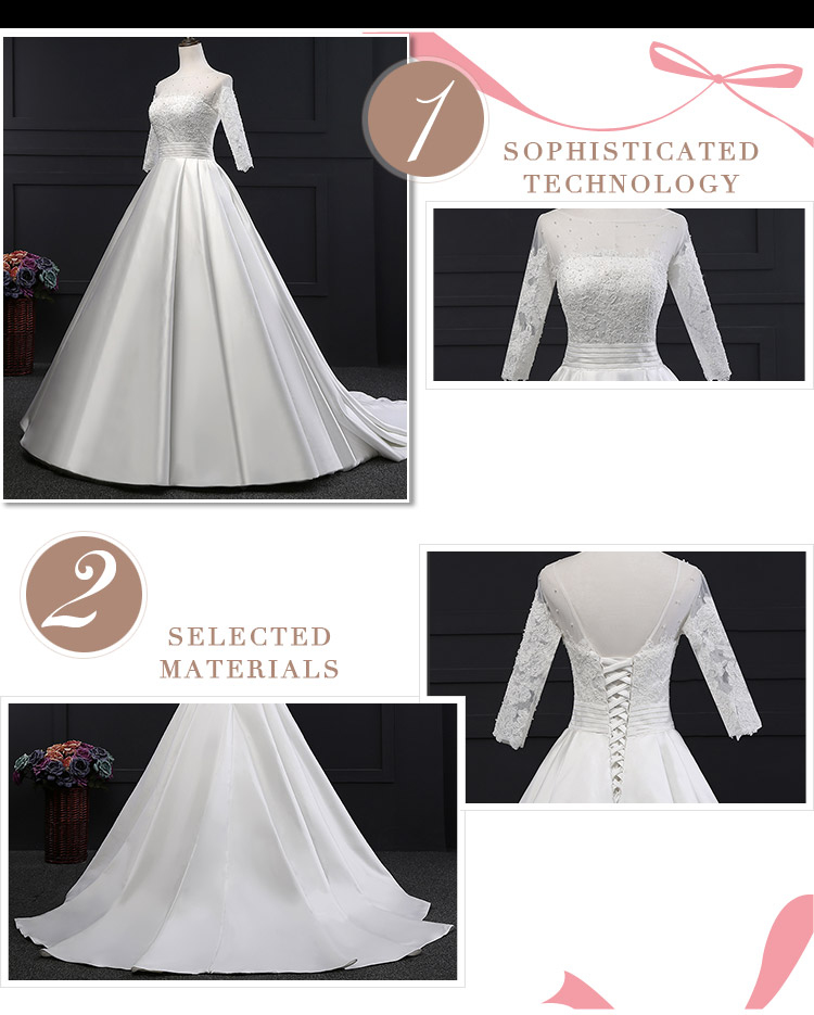 Pearls Pleat Long Sleeves Ball Gowns 2017 Bridal Luxury Wedding Dress