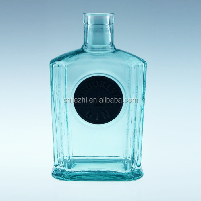 CHINA MANUFACTURER BLUE 750ML GLASS LIQUOR BOTTLE
