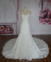 Unique Design Spaghetti Strap Beaded Lace Mermaid Bridal Wedding Dress