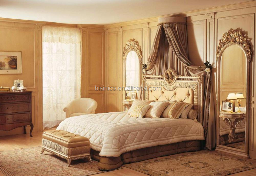 Bisini French Baroque Wooden Bedroom Furniture Set King Size bed, Palace Royal Classic Bed