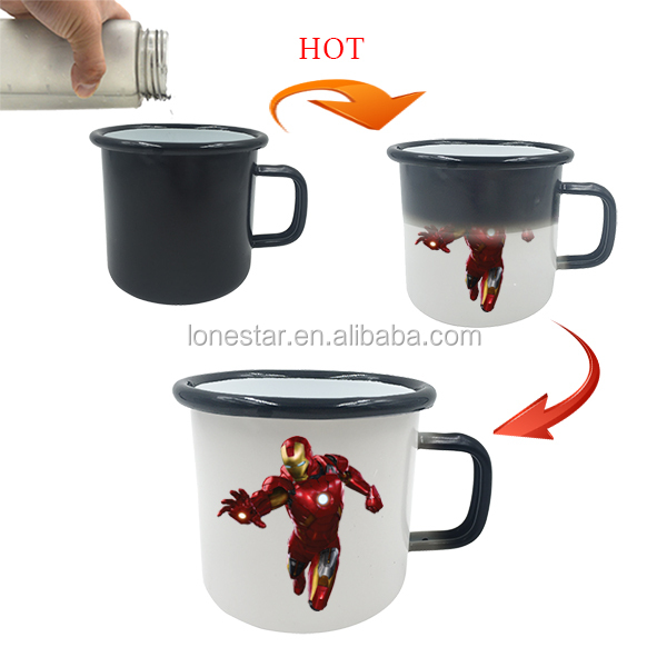 most popular items 450ml green custom printed iron cast enamel hot color changingcup milk mug with oem design