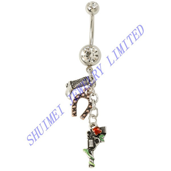 Cowgirl Shoot Gun Dangle 316L Steel Belly Button Ring Navel Piercing Fashion Body Jewelry