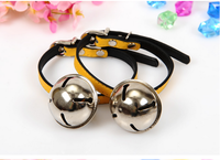 China factory yellow pink leather cat collar with bell(22-27 cm)