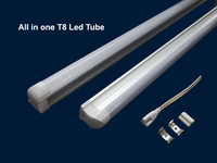 One end connect 4ft led all in one tube lamp, ul approved led all in one tube t8 light, 4ft double-pin t8 all in one led tube