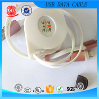 2016 Hot Sales 2 in 1 Retractable USB data cable,Micro usb + 8pin USB charger cable for iPhone 5s 6 plus ipad 4 5 For Samsung S4