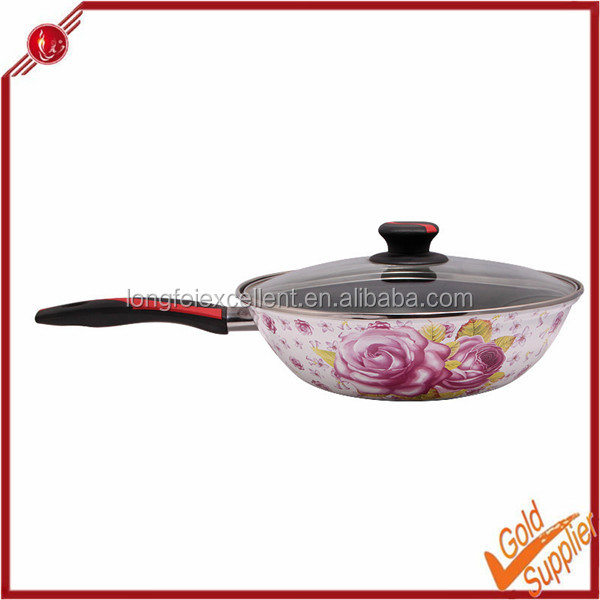 High quality korean carbon steel wok with glass lid