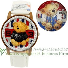 Fashion leather strap quartz movt children watch resin bear covered flip open watch stock