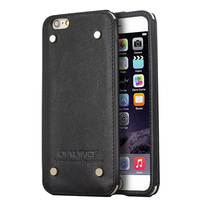 QIALINO Best Handmade Top Layer Leather Clear Crystal Case For Iphone 6S