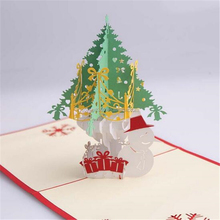 Tereo Card Christmas Snowman Three-dimensional Greeting Card Carving Greeting Card