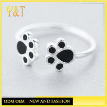 Jingli jewelry 925 sterling silver dog print rings, silver enamel pet paw prints jewelry rings for women(AS-023)