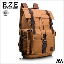Promotional wholesale custom import china supplier laptop bag high quality canvas leather laptop backpack