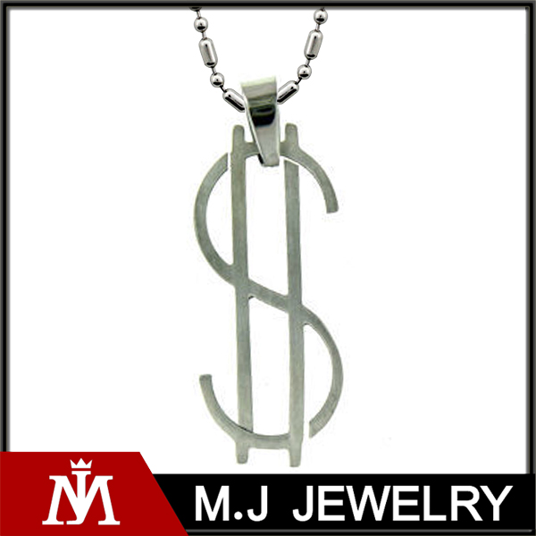 Fashion Stainless Steel Thin Dollar Sign Necklace